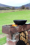 Recreation BBQ. Recreation campfire BBQ holiday food, firewoodcooking over a campfire  weekend Stock Image