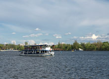 Recreation boat. Boat ride in spring on Herastrau lake in Bucharest, Romania stock photography