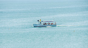 Recreation boat, ship sailing on Black Sea, blue water, sunny day and clear sky Royalty Free Stock Image