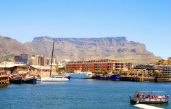 Recreation boats, downtown and Table Mountain in Cape Town, South Africa Royalty Free Stock Images