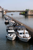 Recreation boats at the river Royalty Free Stock Images