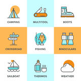 Recreation Camping Line Icons Set Stock Photo