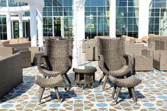The recreation chairs on terrace at luxury hotel Royalty Free Stock Photos
