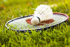 Recreation concept. Close up of badminton racket with shuttlesock Royalty Free Stock Photography