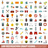 100 recreation craft icons set, flat style. 100 recreation craft icons set in flat style for any design vector illustration Stock Photos