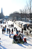 Recreation at the dutch frozen canals, Amsterdam Stock Photos