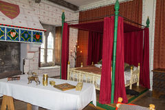 Recreation of Edward I's bedchamber in St Thomas's Tower. Tower of London. UK Stock Images