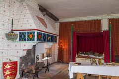 Recreation of Edward I's bedchamber in St Thomas's Tower. Tower of London. UK Stock Image