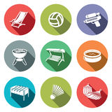 Recreation flat icon set Stock Image