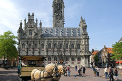 Recreation and horses for ancient city hall Middelburg Stock Photo