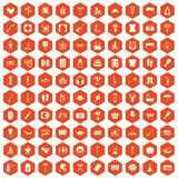 100 recreation icons hexagon orange. 100 recreation icons set in orange hexagon isolated vector illustration stock illustration