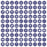 100 recreation icons hexagon purple. 100 recreation icons set in purple hexagon isolated vector illustration Stock Photos