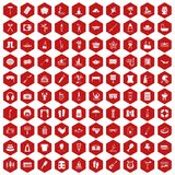 100 recreation icons hexagon red. 100 recreation icons set in red hexagon isolated vector illustration Stock Photography