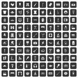 100 recreation icons set black. 100 recreation icons set in black color isolated vector illustration Stock Image