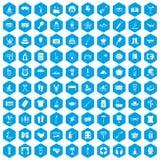 100 recreation icons set blue. 100 recreation icons set in blue hexagon isolated vector illustration Stock Illustration