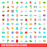 100 recreation icons set, cartoon style Stock Photos