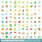 100 recreation icons set, cartoon style Stock Photography