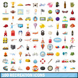 100 recreation icons set, cartoon style Stock Image