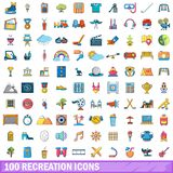 100 recreation icons set, cartoon style. 100 recreation icons set in cartoon style for any design vector illustration Royalty Free Stock Photos