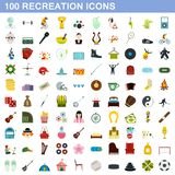 100 recreation icons set, flat style. 100 recreation icons set in flat style for any design illustration royalty free illustration