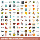 100 recreation icons set, flat style Royalty Free Stock Image