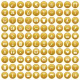 100 recreation icons set gold. 100 recreation icons set in gold circle isolated on white vector illustration stock illustration