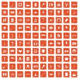 100 recreation icons set grunge orange. 100 recreation icons set in grunge style orange color isolated on white background vector illustration Royalty Free Stock Photos