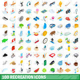 100 recreation icons set, isometric 3d style. 100 recreation icons set in isometric 3d style for any design vector illustration Stock Photography