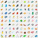 100 recreation icons set, isometric 3d style. 100 recreation icons set in isometric 3d style for any design vector illustration Royalty Free Stock Photo