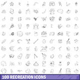 100 recreation icons set, outline style Stock Photo