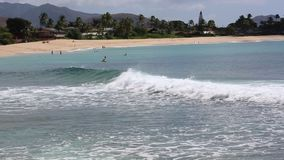 Recreation on Makaha Beach. Fun and recreation in Oahu, Hawaii stock video footage