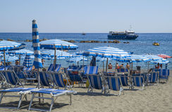 Recreation at Monterosso al Mare Beach. MONTEROSSO,LIGURIA, ITALY - JUNE 26, 2015. Monterosso al Mare Beach ,town in famous Cinque Terre, comune in the province Stock Photos
