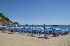Recreation at Monterosso al Mare Beach. MONTEROSSO,LIGURIA, ITALY - JUNE 26, 2015. Monterosso al Mare Beach ,town in famous Cinque Terre, comune in the province Stock Photo