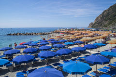 Recreation at Monterosso al Mare Beach Royalty Free Stock Image