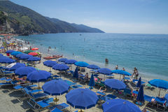 Recreation at Monterosso al Mare Beach Royalty Free Stock Images