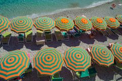 Recreation at Monterosso al Mare Beach. MONTEROSSO,LIGURIA, ITALY - JUNE 26, 2015. Monterosso al Mare Beach ,town in famous Cinque Terre, comune in the province Stock Image