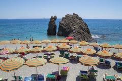 Recreation at Monterosso al Mare Beach. Monterosso al Mare Beach ,town in famous Cinque Terre, comune in the province of La Spezia, Italy Stock Image