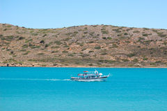 The recreation motorboat with tourists. Crete, Greece stock photos