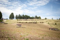Disposition of armies on the battlefield 2. Recreation of the Napoleonic battle, siege of the castle of Burgos. Wellington ad portas, Spain Royalty Free Stock Photo
