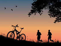 Recreation in nature. Jogging in nature at sunset image stock illustration