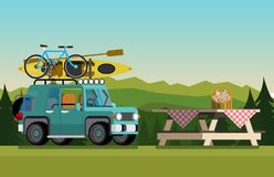 Recreation in nature. Car with boat and bike in the nature. The concept of camping and outdoor recreation. Flat style. Flat design. Vector illustration Eps10 royalty free illustration