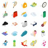 Recreation park icons set, isometric style. Recreation park icons set. Isometric set of 25 recreation park vector icons for web isolated on white background Royalty Free Stock Photos