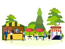 Recreation park, people and food area. In minimalist style. Cartoon flat Vector vector illustration