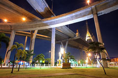 Recreation park under Bhumibol bridge at night Stock Image