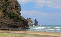 Recreation on  Piha Beach. Landscape with Piha Beach, New Zealand Royalty Free Stock Photo