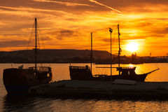 Recreation sailing ships stand moored in Varna port Stock Image