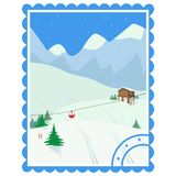 Recreation. Ski holidays. Winter landscape with mountain house, trees, cable car, skis. vector illustration