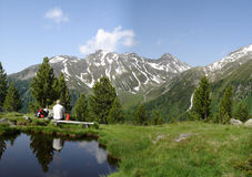 Recreation in the South Tyrolean mountains Stock Images