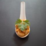 Recreation spoon of spicy macaroni Stock Photos
