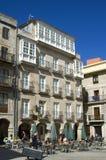 Recreation on terrace in historic center of Vigo. Spain, Pontevedra province, Galicia region, city of Vigo. In the historic center of this city, downtown, in the Stock Images